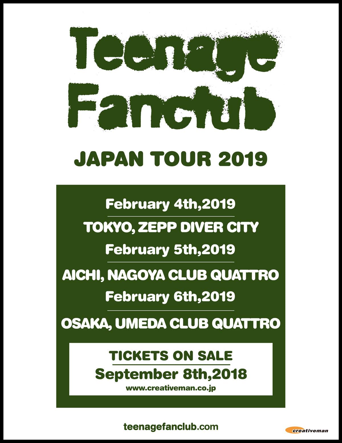 TEENAGE FANCLUB JAPAN TOUR 2019