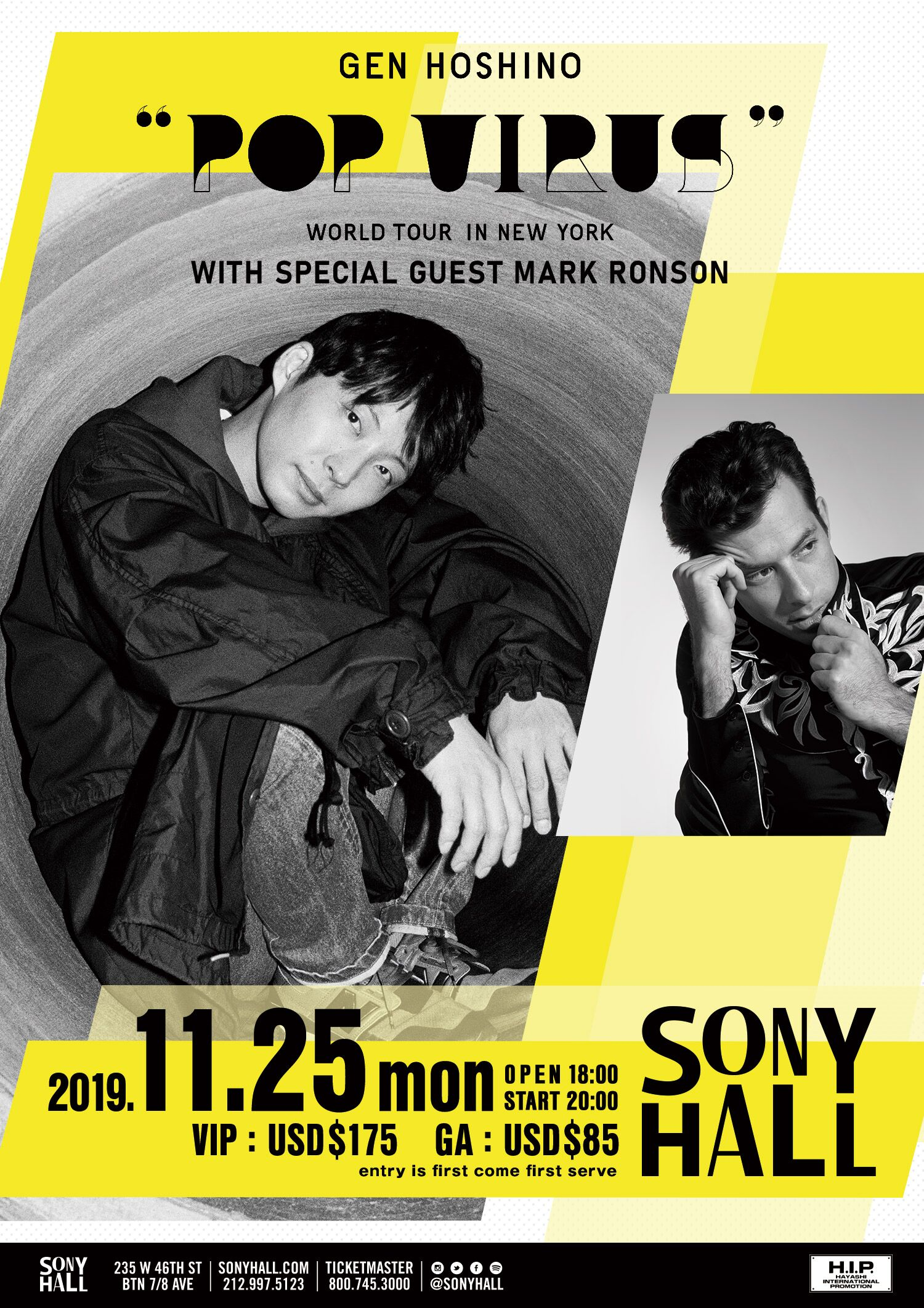 GEN HOSHINO POP VIRUS WORLD TOUR IN NEW YORK WITH SPECIAL GUEST MARK RONSON